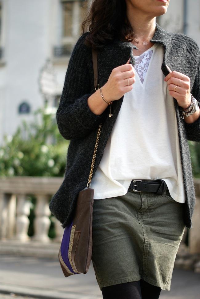 jupe velours kaki